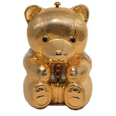 Preowned Judith Leiber Gold & Swarovski Crystal Teddy Bear Minaudiere ($2,900) ❤ liked on Polyvore featuring bags, handbags, clutches, brown, gold purse, judith leiber handbags, vintage coin purse, gold clutches and vintage clutches
