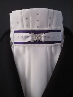 Equestrian Pzazz pleated Euro-style dressage stock tie with purple and white tab. More stunning designs can be found at: www.facebook.com/eqpzazz