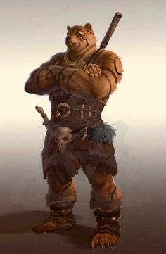 The bare bear warrior! Fantasy Warrior, 3d Fantasy, Fantasy Races, Fantasy Kunst, Medieval Fantasy, Fantasy World, Character Concept, Character Art, Concept Art