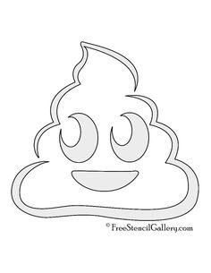 Emoji - Poop Stencil Emoji Pumpkin Carving, Pumpkin Carving Templates, Pumpkin Stencil, Free Stencils, Stencil Templates, Stencil Diy, Pumpkin Template Printable, Printable Stencils, Emoji Templates