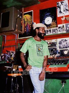 Nice colour shot of Lee Perry at the Black Ark. Dancehall Reggae, Reggae Music, My Music, Jamaica Music, Jamaica Reggae, Lee Perry, Big Youth, Peter Tosh, Reggae Artists