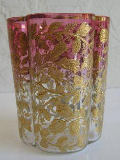 Moser Antique Bohemian Art Glass Gold Enamel Vines Cranberry Tumbler Victorian.