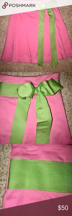 "Pink and green skirt. Size 6. So fun and flirty. Approx 15 1/2"" waist, 21"" in length. Machine wash. Size 6. Side zipper. Skirts"
