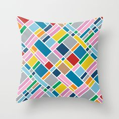 Map Outline 45  Throw Pillow #map #blocks #grid #squares #rainbow #color #white