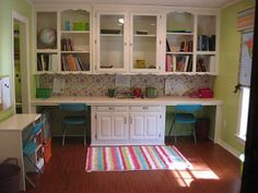 This desk set up on the window wall with the window where the glass doors are. Add some color and lights