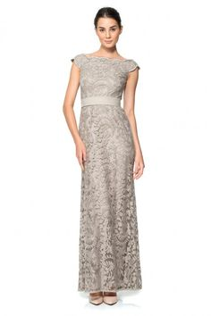Embroidered Lace Bateau Gown in Antique | Tadashi Shoji