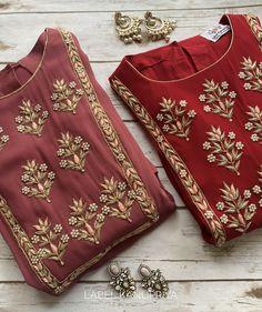 Simple Kurti Designs, New Kurti Designs, Kurta Designs Women, Kurti Designs Party Wear, Hand Embroidery Dress, Kurti Embroidery Design, Embroidery Fashion, Fancy Dress Design, Stylish Dress Designs
