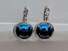 Ohrringe Skyline Berlin Damen Hänger Ohrschmuck Modeschmuck Leverback Glas Blau