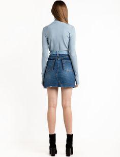 Two Tone Denim Mini Skirt – Pixie Market Denim Mini Skirt, Mini Skirts, Cute Jackets, Knit Fashion, Casual Jeans, Long Sleeve Tops, Pixie, Shopping, Coats