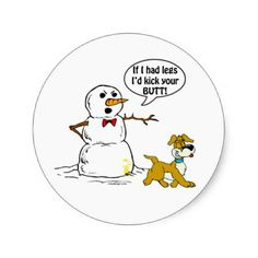 Shop Dog Pees on Snowman Joke Classic Round Sticker created by ironydesign. Funny Puns, Funny Cartoons, Funny Quotes, Funny Stuff, Dog Stuff, Random Stuff, Snowman Jokes, Funny Snowman, Winter Jokes
