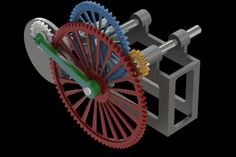 This mechanism uses a gear that moves like a pendulum to provide alternate movement. The output moves forward degreees) and then backward degrees), advancing 72 degrees for each turn of input. Mechanical Power, Mechanical Design, Mechanical Engineering, Pulleys And Gears, Perpetual Motion, 3d Cad Models, Kinetic Art, Motion Design, Inventions