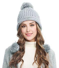 4e27d1b97d4 Women Winter Crochet Knit Ski Warm Beanie Pom Ball Hat