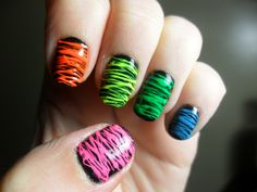 BAM. Another sugar spun nail success!  Sinful Colors 'Black on Black' with sugar spun Finger Paints 'Warhol Wannabe', Sinful Colors 'Summer Peach', Sinful Colors 'Neon Melon', Finger Paints 'Silkscreen Green', and Sinful Colors 'Savage'.