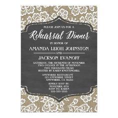 Chalkboard Wedding Rehearsal Dinner Cards Chalk Burlap and Lace Rehearsal Dinner Invitations