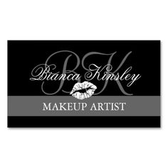 Makeup Artist Monograms Business Cards Black. This is a fully customizable business card and available on several paper types for your needs. You can upload your own image or use the image as is. Just click this template to get started!