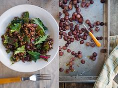 Eating Brooklyn: Farro Salad with Roasted Red Grapes, Kale and Swiss Chard