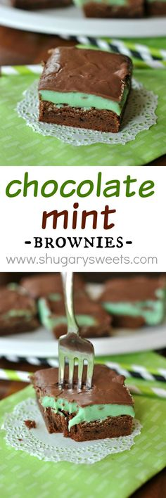 Chocolate Mint Brownies: rich, fudgy brownie base topped with a mint ganache and melted milk chocolate:
