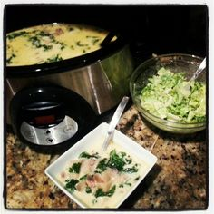 Crockpot zuppa toscana and lemon caesar salad