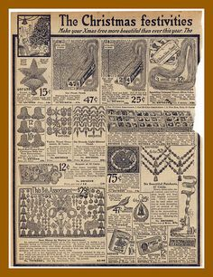 BEST VIEWED LARGE-Another Christmas page from the 1916 Sears catalog, Christmas tree decorations by mcudeque, via Flickr