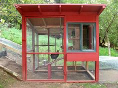 Chicken coop with lots of light and air...and style.  Imagine this in different colors, though the red is great.