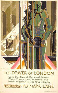 Afiche en favor del Sistema de Transporte de Londres.   ilustración de Clive Gardiner (1927).