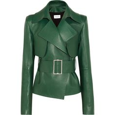 Mugler Belted leather biker jacket (189.715 RUB) ❤ liked on Polyvore featuring outerwear, jackets, coats & jackets, tops, real leather jackets, rider leather jacket, green leather jacket, biker style leather jacket and leather moto jackets