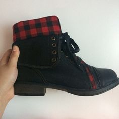 black and red plaid combat boots black and red // combat boots with zippers lined down the shoe // never worn // was a gift but wasn't my size // not uo, just something people who shop there would probably like Urban Outfitters Shoes
