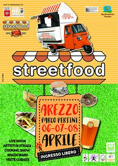 2018 - Streetfood 4wheels - April 6-8, 5-11 p.m., Arezzo, Parco Pertini; Italian and International street food specialties; cooking shows; street artists; entertainment for children; free entrance.