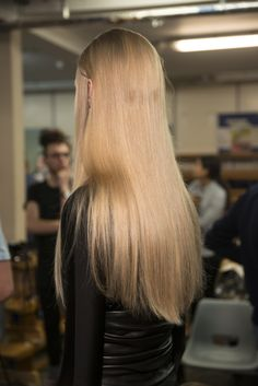 We think this sleek straight look is perfect on blonde hair; created by Anthony Turner for JW Anderson #AW16