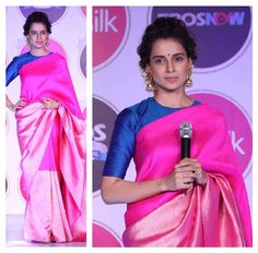 Kangana Ranaut in payalkhandwala  Silk Fitted Blouse and Brocade Sari
