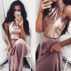 Sexy Two Pieces Shinny Sequin Long A-line Halter Prom Dress
