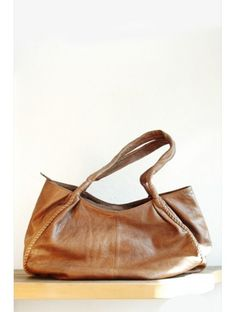 Tan Leather Slouch Shopper