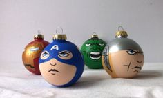 Avengers Iron Man, Captain America, Hulk, and Thor Painted Christmas Ornaments Set Marvel