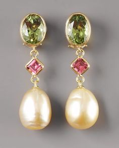 Pearl and pink and green tourmaline earrings