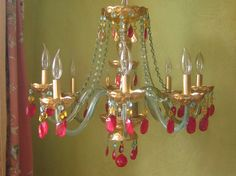 Chandelier Aqua Berry and Reverse Gold Leaf Gypsy by queendecor, $1800.00