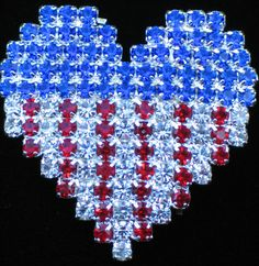 PATRIOTIC FLAG UNITED STATES USA MEMORIAL INDEPENDENCE DAY HEART PIN BROOCH 1.25 #Unbranded