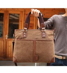 Men's Vintage Canvas Leather Satchel Shoulder Messenger Bag Briefcase handbag  #newbrand #BriefcaseAttache