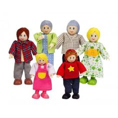 The Hape Caucasian Doll Family Set of 6 is a wonderful happy family doll set for kids to play with their dolls houses. Made of quality wood, fabric and cotton, with movable arms and legs, this set is sure to be a wonderful gift for children Dollhouse Family, Wooden Dollhouse, Wooden Dolls, Dollhouse Dolls, Dollhouse Furniture, Dolls Dolls, Baby Dolls, Family Set, Happy Family