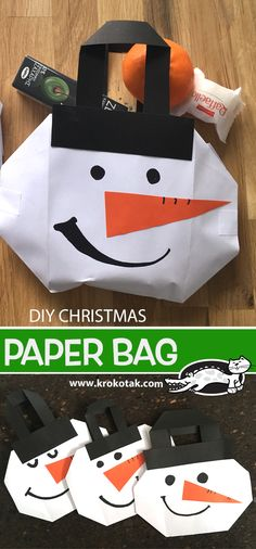 ideas for diy christmas decorations paper natal Christmas Bags, Christmas Paper, Winter Christmas, Winter Crafts For Kids, Diy For Kids, Diy Gifts For Friends, Gifts For Kids, Tree Collage, Natal Diy