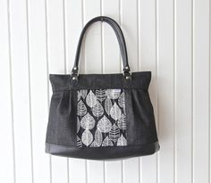 The Zinnia Zippered Panel Bag PDF Sewing by BlueCallaPatterns Pretty Black, Black And White, Black Denim, Black Leather, Top Band, Zinnias, Lining Fabric, Pdf Sewing Patterns, Floral Fabric