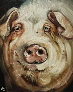 """Roz's style of painting is so awesome! The pig just happens to be my fav but he has many other amazing paintings! Check them out!"""