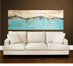 """Enormous 72""""xxl large abstract turquoise,creme original Painting , from jolina…"""