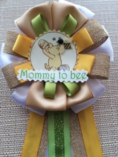 Baby Shower Corsage Winnie the Pooh Inspired by CorsagePinsbyBG Baby Blue Maternity Dress, Winnie The Pooh Themes, Baby Shower Pin, Mommy To Bee, Corsage Pins, Burlap Ribbon, Ribbon Colors, Having A Baby, Deco