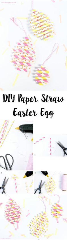 DIY Osterei aus Papierstrohhalmen | DIY Paper Straw Easter Egg