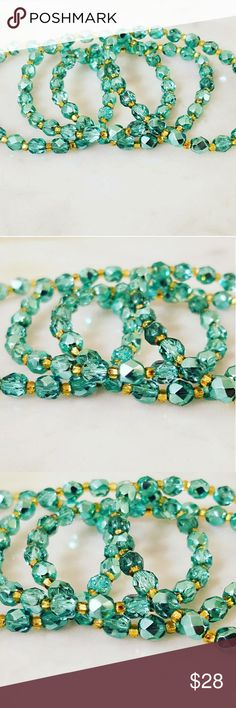 Marine Fairytale Twinkle Bracelets Sparkling Marine Czech glass beads with silver lined gold Czech glass seed beads for spacers. Strung on thick stretch cord for durability.  Perfect for layering and the beads shine and sparkle in the light. Listing is for individual bracelets. Limited Supply.   Magen's Fairytale Creations original handmade by me. Magen's Fairytale Creations Jewelry Bracelets