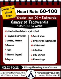 Tachycardia Cheat Sheet Nursing School Nursingkamp.com Medical Surgical Nurse These are all causes of high heart rate a patient that has a heart rate of greater than 90 should be further evaluated!  M- Medication- Albuterol Treatments?  O- Oxygen Deprivation- What are the patients saturations? Vitals?  S- Stress- either anxiety or stress response  T- Trauma- Post op? in the ER?  P- Pain- What is the patients Pain?  T- Thyroid Disorders (Hyper TSH?)   D- Dehydration- Assess, labs, Sodium,
