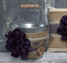 Flower Girl Basket Ring Bearer Pillow Set by BarnHillWeddingDecor