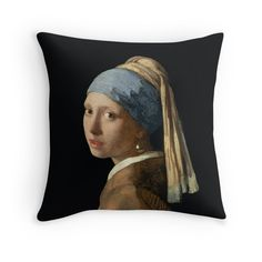 Girl with a Pearl Earring does come on a cushion! (£20 red bubble)