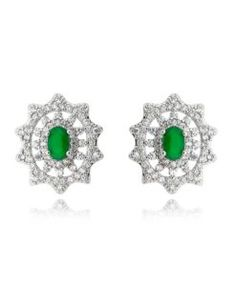 brinco esmeralda com zirconias cristais e banho de rodio semi joias online