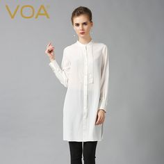 Encontrar Más Blusas y Camisas Información acerca de VOA camisa blanca larga 100% de seda nuevo otoño 2016 moda suelta de manga larga blusa plus size tops mujer B6088, alta calidad carpeta camiseta, China camisas de la vida Proveedores, barato camisas neto de VOA Flagship Shop en Aliexpress.com